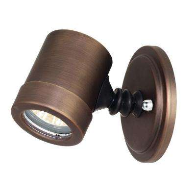 Myra 1-Light Bronze Metal Outdoor Spot Light with Clear Glass Shade