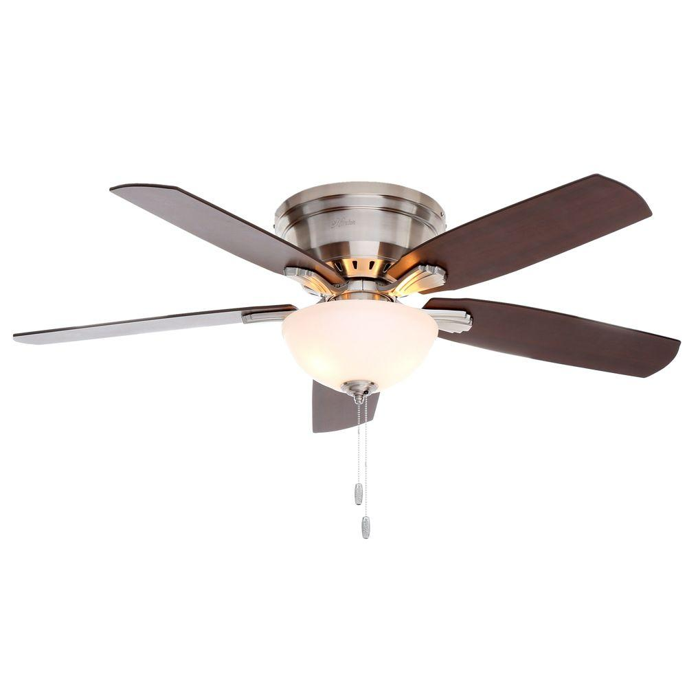 Hunter princeton 52 in indoor low profile brushed nickel ceiling hunter princeton 52 in indoor low profile brushed nickel ceiling fan with light mozeypictures Image collections