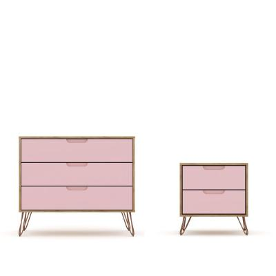 Intrepid 5-Drawer Nature and Rose Pink Mid-Century Modern Dresser and Nightstand (Set of 2)