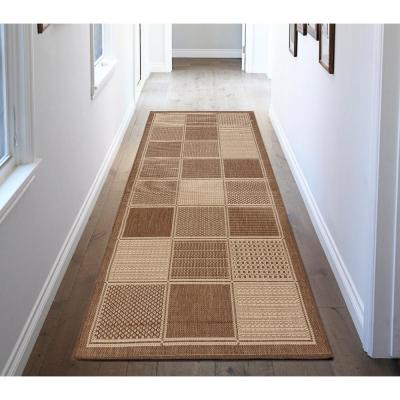 Jardin Collection Contemporary Boxes Design Brown 3 ft. x 7 ft. Outdoor Runner Rug