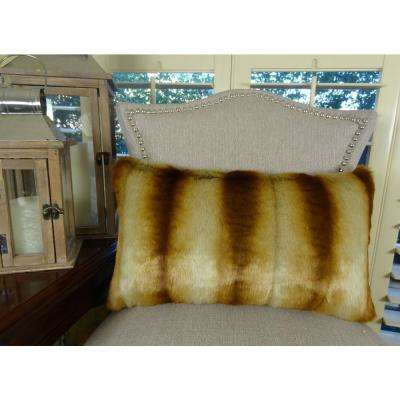 Sheared Chinchilla 12 in. x 20 in. Gold Beige Brown Hypoallergenic Down Alternative Handmade Throw Pillow