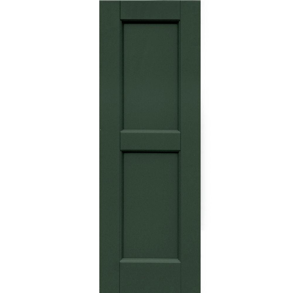 Winworks Wood Composite 12 in. x 35 in. Contemporary Flat Panel Shutters Pair #656 Rookwood Dark Green