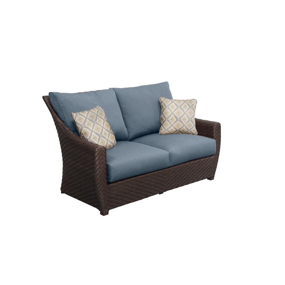 Brown Jordan Highland Patio Loveseat with Denim Cushions and Bazaar Throw Pillows -- CUSTOM