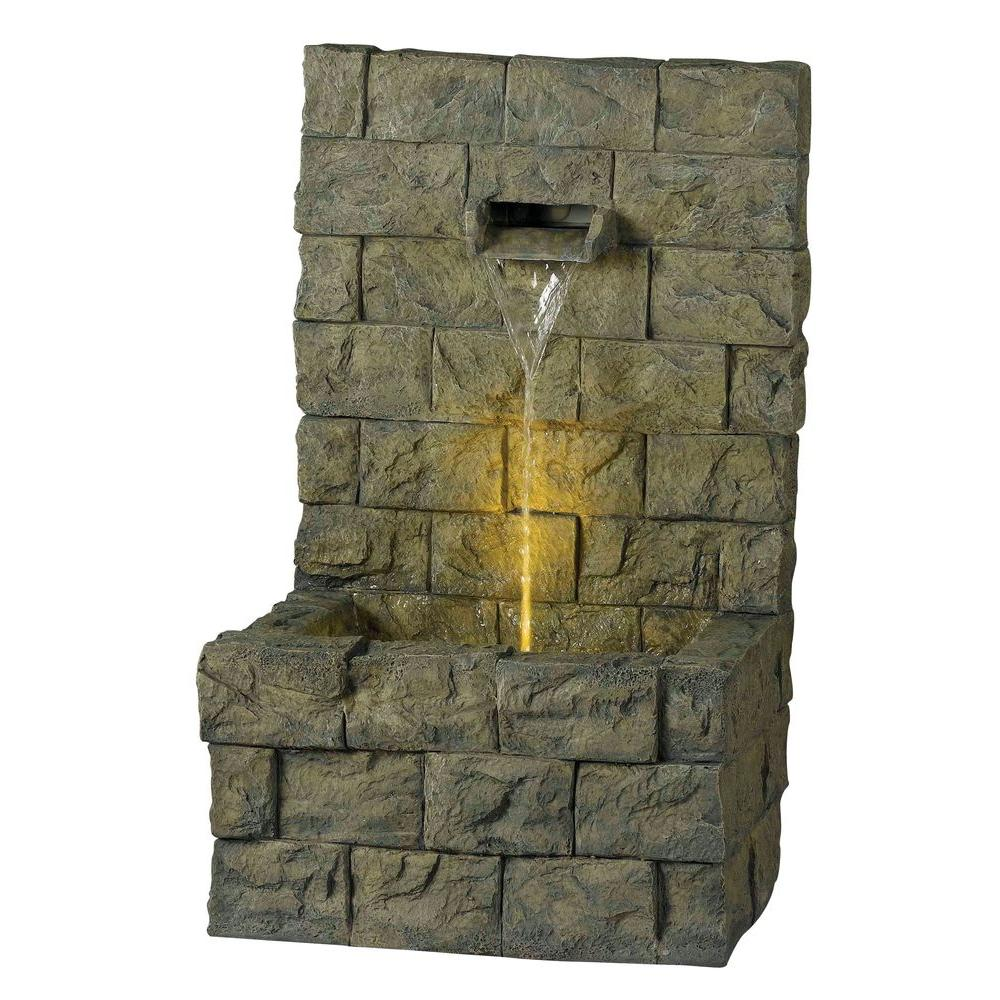 Kenroy Home Garden Wall 36 in. Lighted Concrete Finish Outdoor Floor Fountain