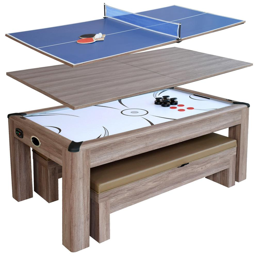 Driftwood 7 ft. Air Hockey Table Combo Set with Benches