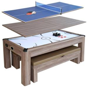 Hathaway Driftwood 7 Ft Air Hockey Table Combo Set With Benches
