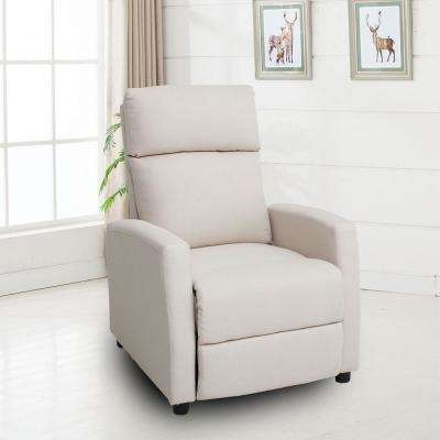 Lavery White Fabric Pushback Recliner