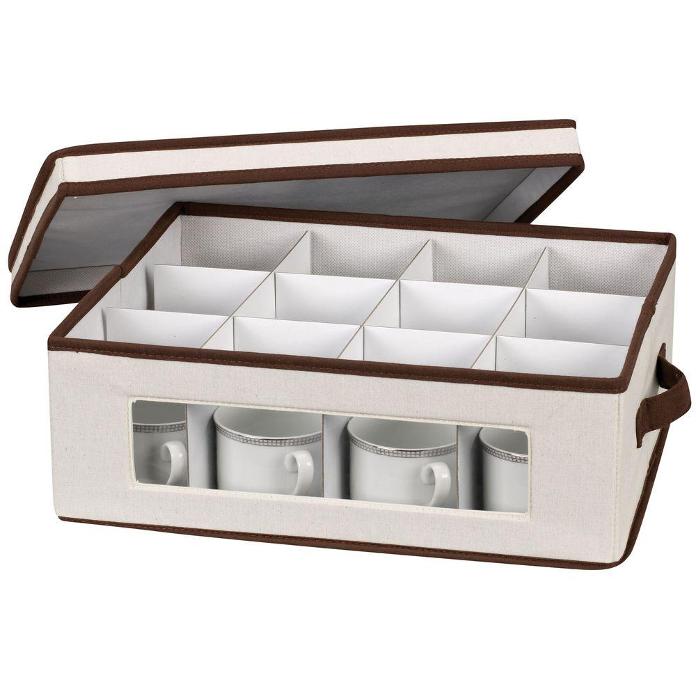 Household Essentials Cup Storage Chest Canvas with Trim