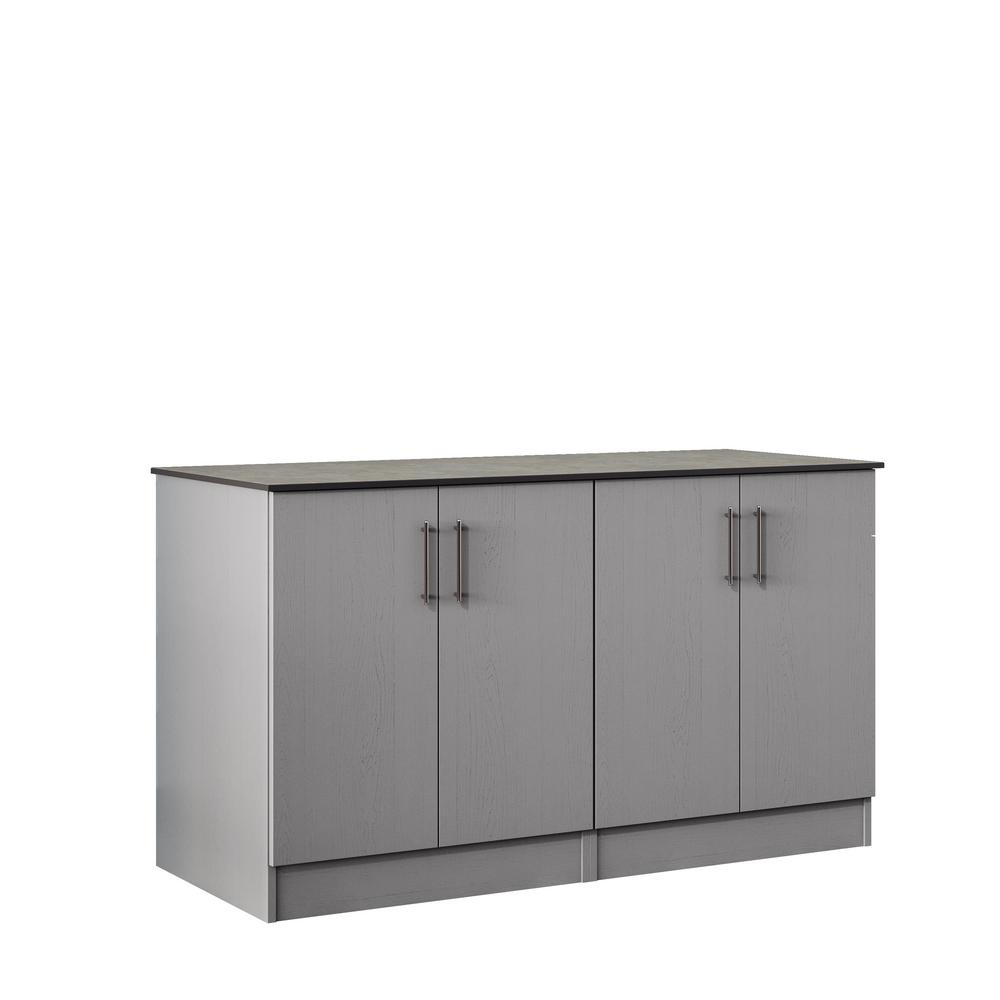 WeatherStrong Miami 59.5 in. Outdoor Cabinets with Countertop 4 Full Height  Doors in Gray