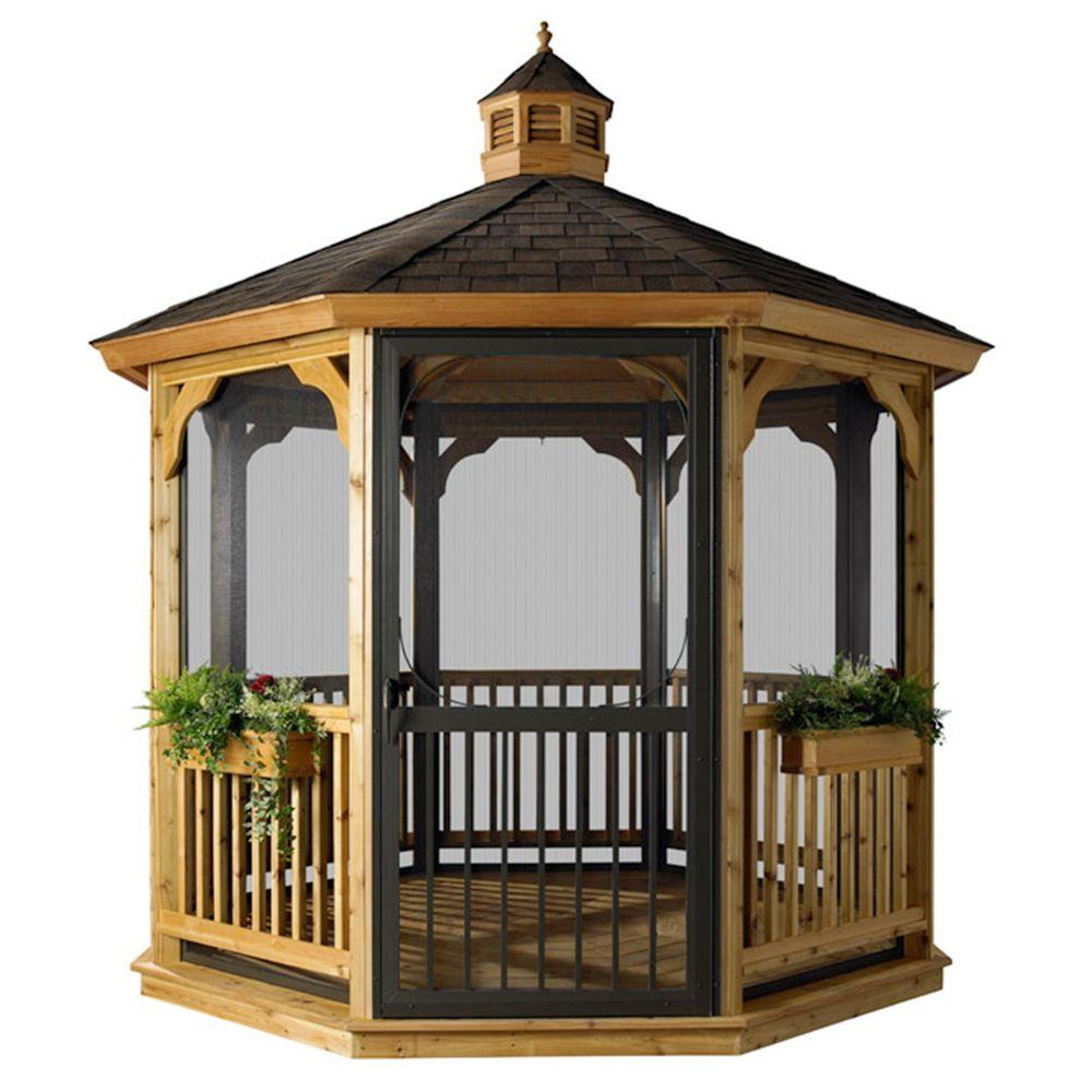 HomePlace Structures 12 ft. Octagon Cedar Gazebo with Floor and Screens
