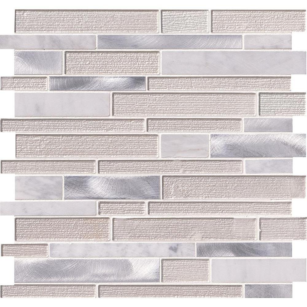 White Wave Interlocking 12 in. x 12 in. x 4mm Glass/Stone/Metal Mesh-Mounted Mosaic Tile (20 sq. ft. / case)