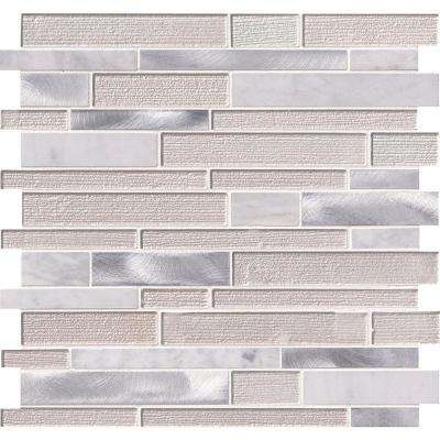 White Wave Interlocking 12 in. x 12 in. x 4mm Glass/Stone/Metal Mesh-Mounted Mosaic Tile (20 sq. ft. / case)