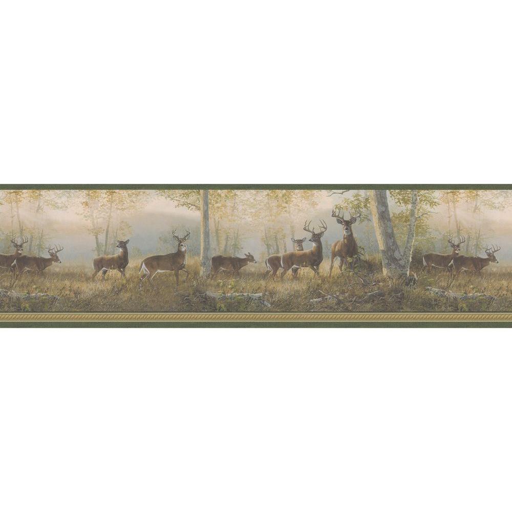 Brewster Multi Color Deer Wallpaper Border Sample