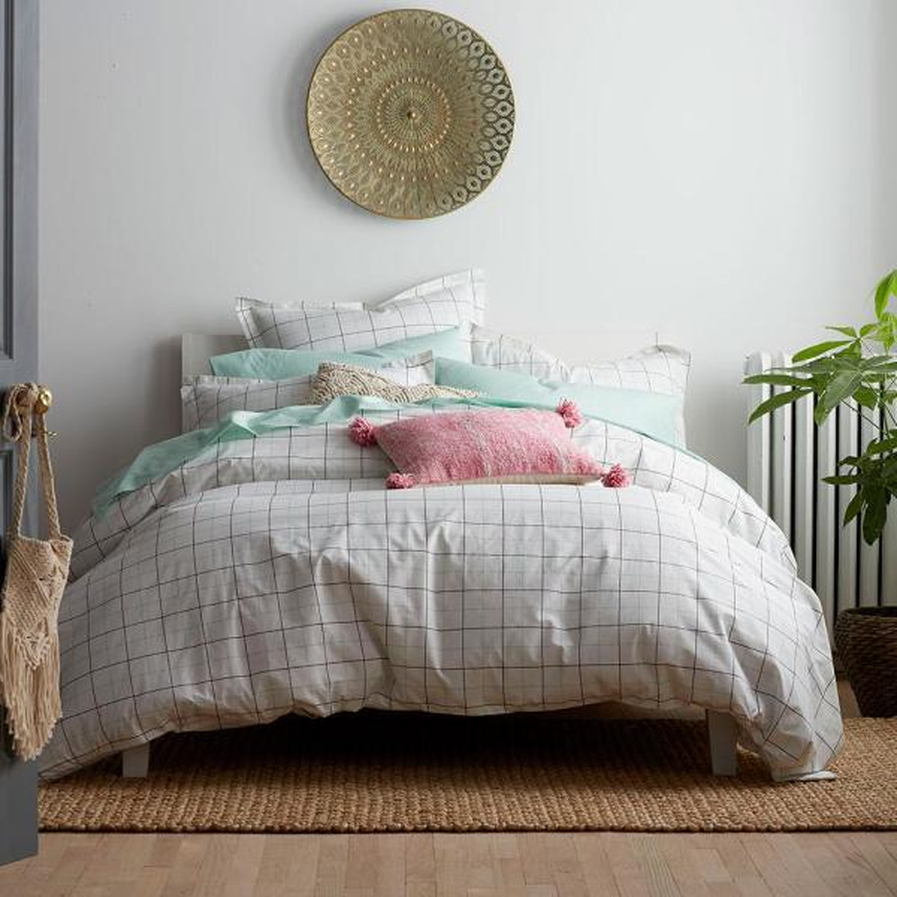 Grid Multicolored Geometric Organic Cotton Percale Queen Duvet Cover