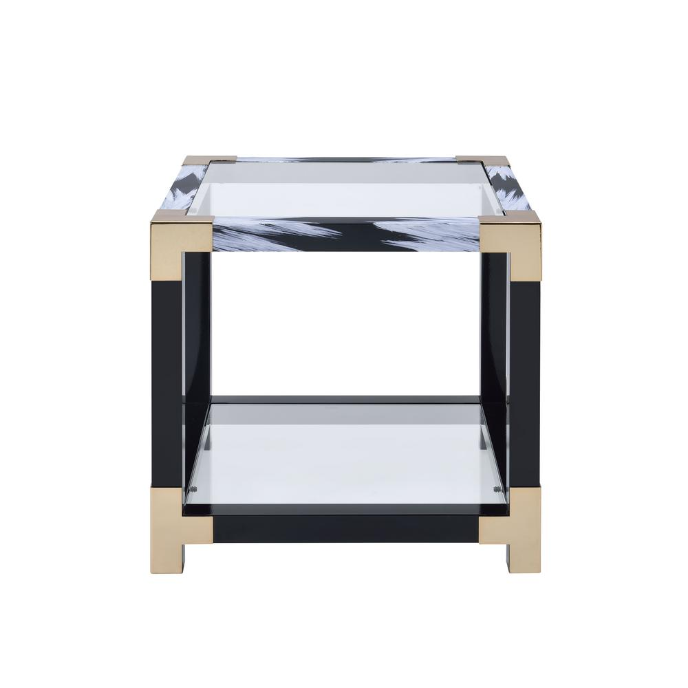 Lafty White Brushed, Black, Gold and Clear Glass End Table