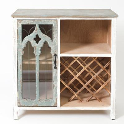 Shabby-Chic 8-Bottle Distressed Storage and Wine Cabinet