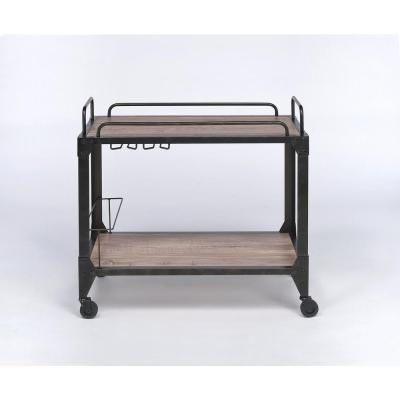 Caitlin Rustic Oak and Black Serving Cart