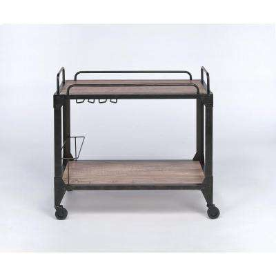 Caitlin Rustic Oak & Black Serving Cart