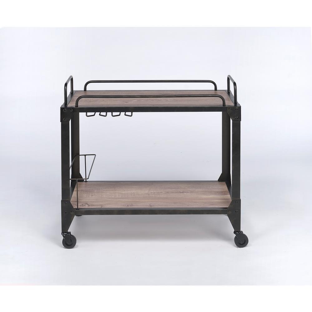 ACME Furniture Caitlin Rustic Oak & Black Serving Cart