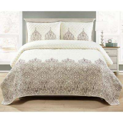 Harold Embroidered Ivory 3-piece Quilt Set