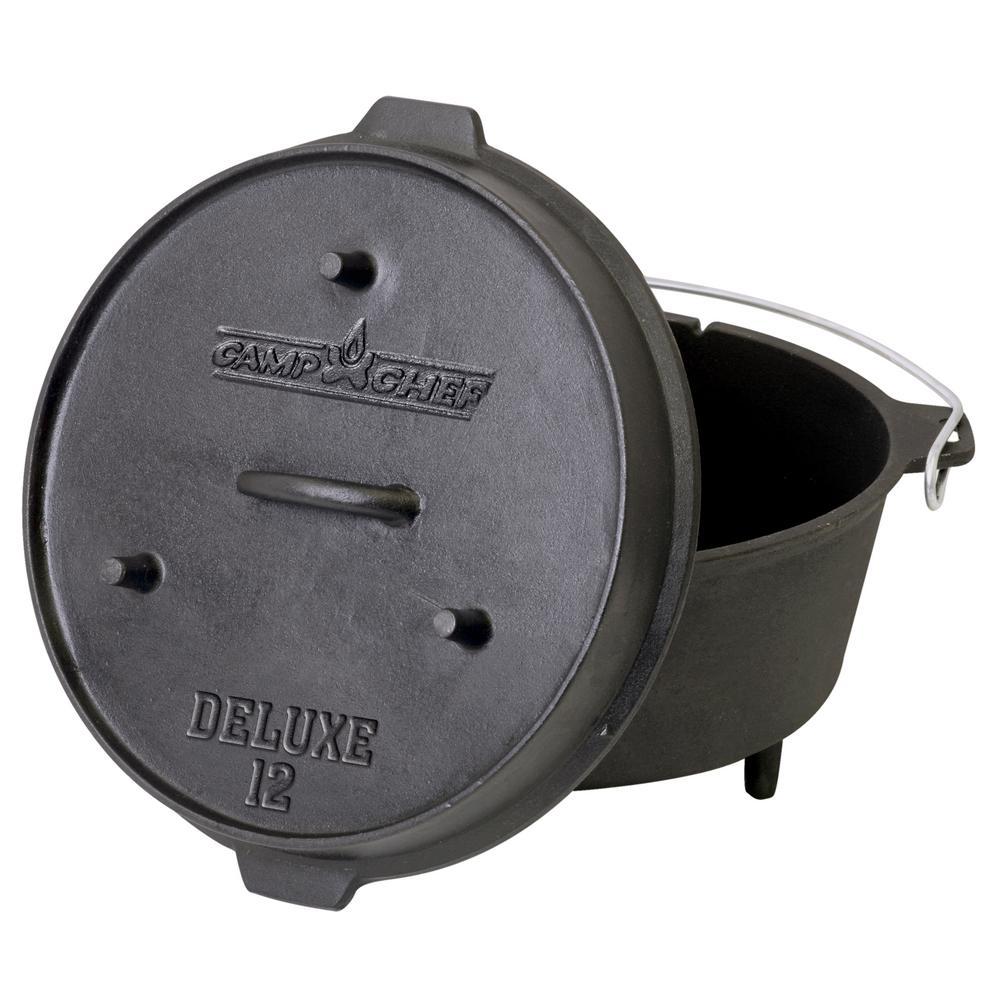 Deluxe Preseasoned Cast Iron 12 in. Dutch Oven