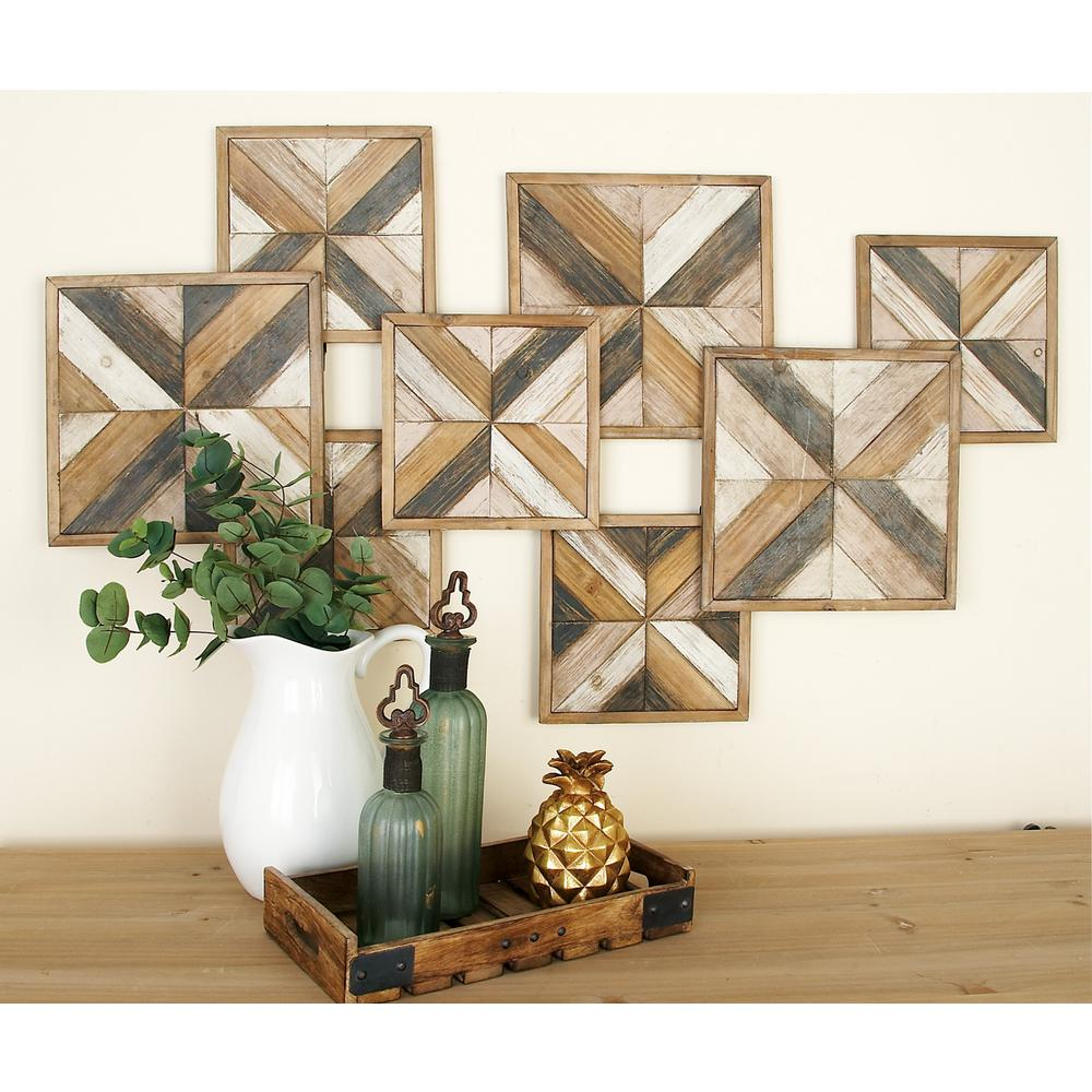 Litton Lane Rustic Brown Wooden Herringbone Panel Wall Decor