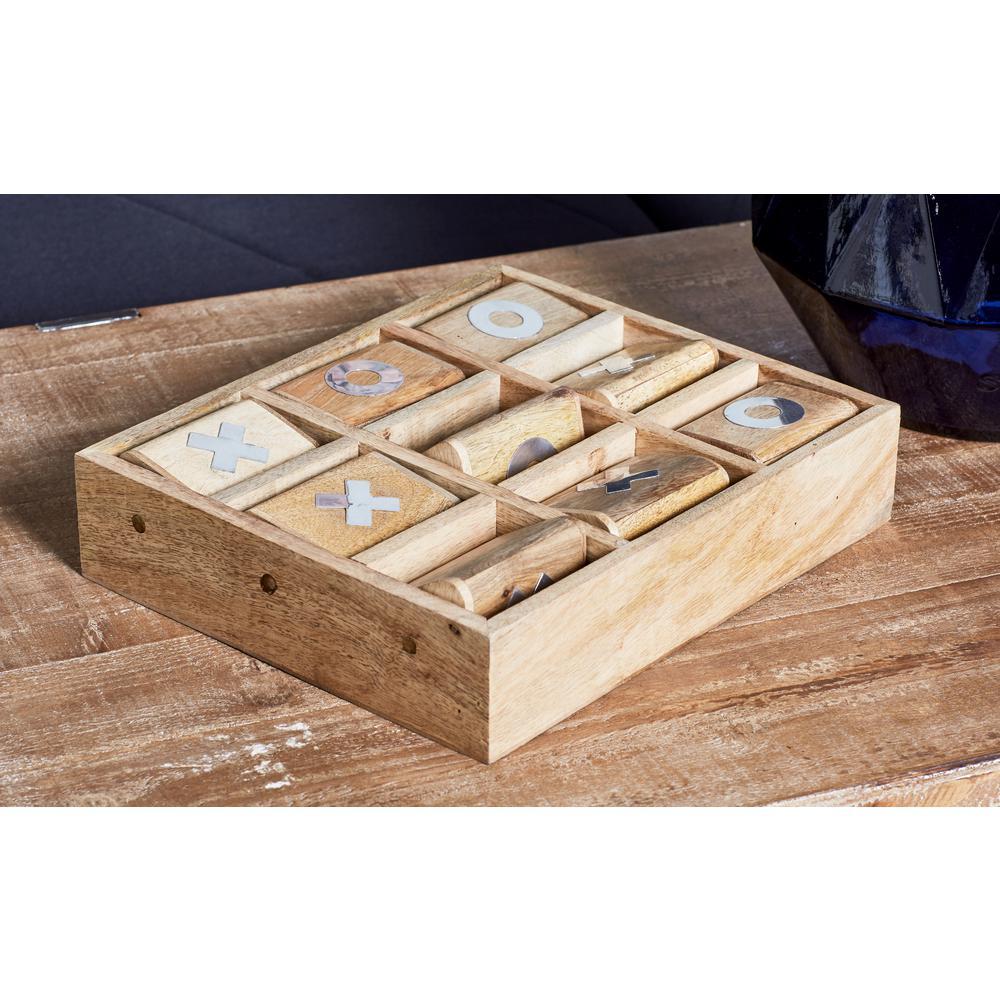 Light Brown Wood and Brass Tic Tac Toe Set