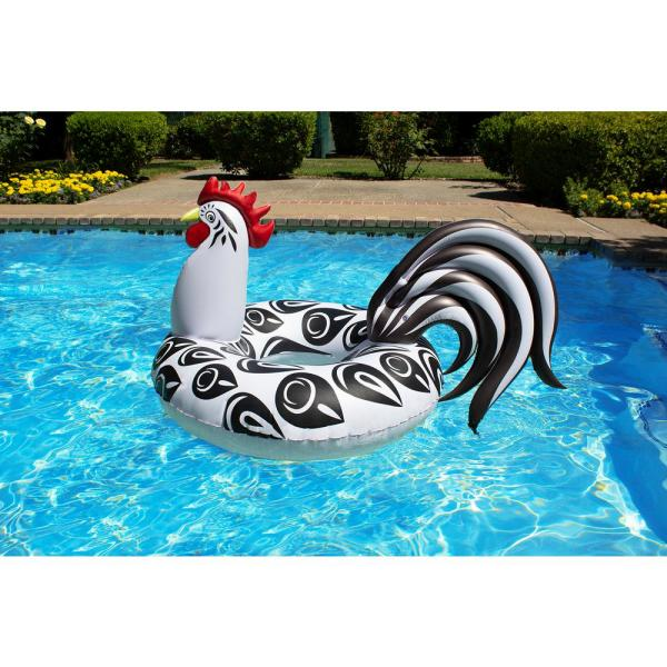 Poolmaster Rooster Tube - Inflatable Swimming Pool Party Float - (48 Inch Diameter)