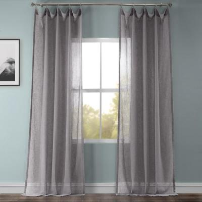Gravel Grey Solid Faux Linen Sheer Curtain - 50 in. W x 108 in. L