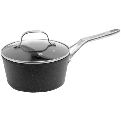 The Rock 2 qt. Aluminum Nonstick Sauce Pot in Black Speckle with Glass Lid