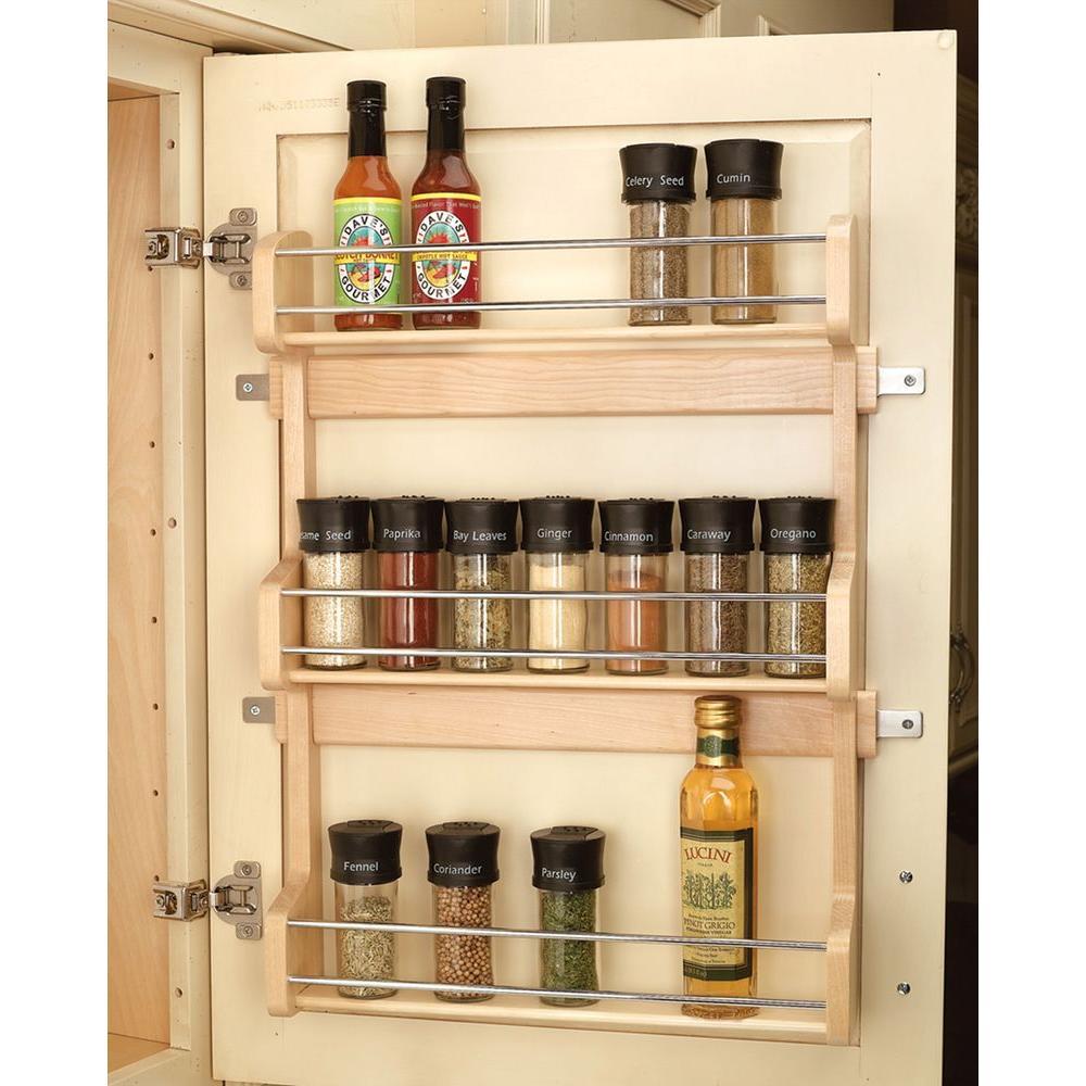 Rev-A-Shelf 21.5 inch H x 16.5 inch W x 3.12 inch D Large Cabinet Door Mount Wood 3-Shelf Spice Rack by Rev-A-Shelf