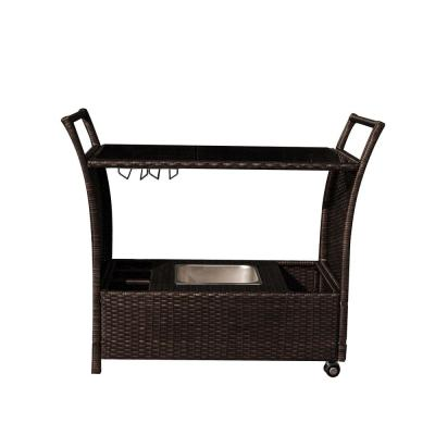 Outdoor Bar Cart Rolling Resin Wicker Bar for Pools and Patios With Drink Wells and Ice Tray