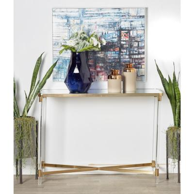 Clear Rectangular Mirror Console with Gold Accents