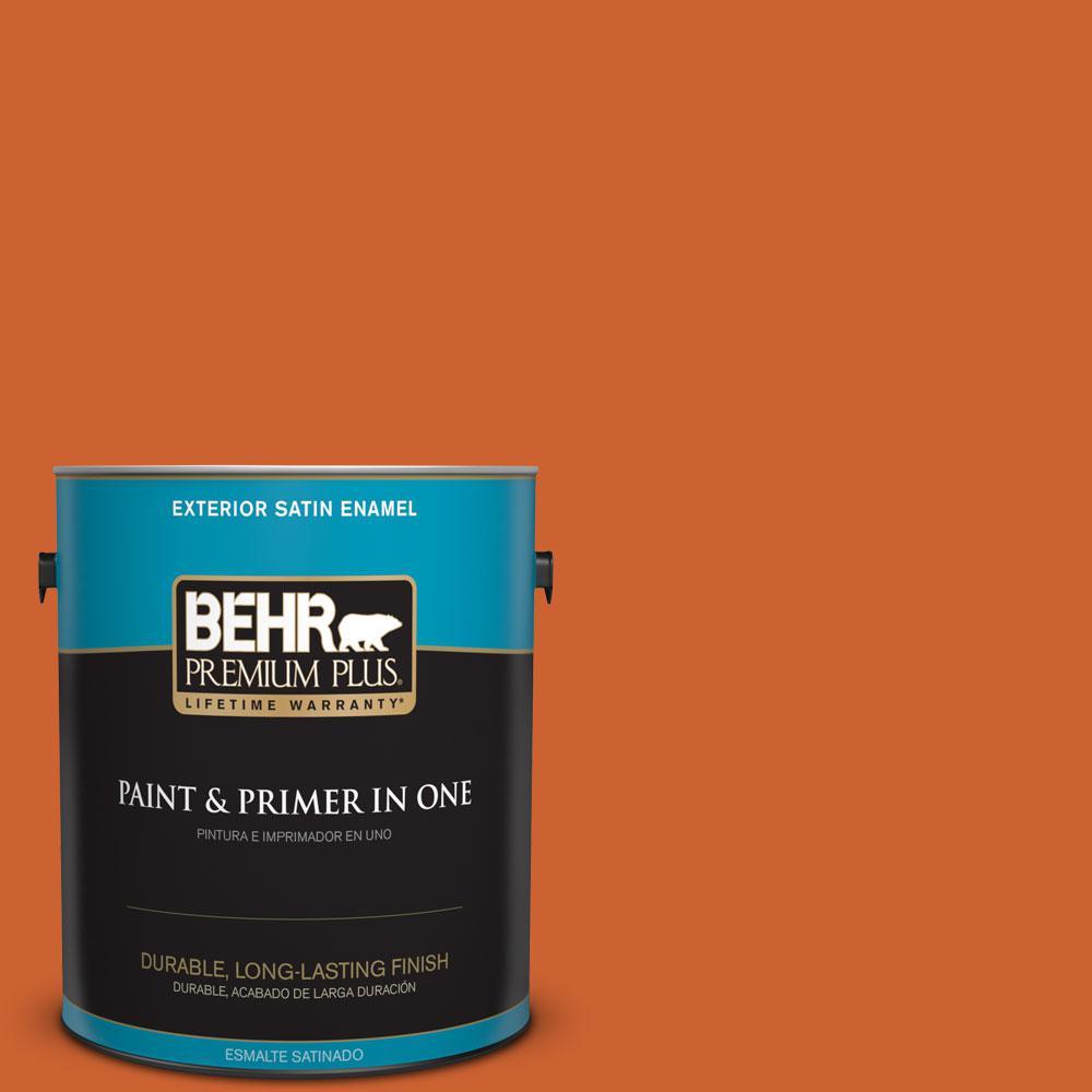 BEHR Premium Plus 1-gal. #S-H-250 Pumpkin Patch Satin Enamel Exterior Paint