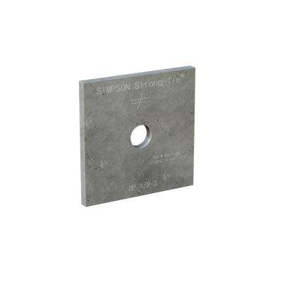 3 in. x 3 in. Hot-Dip Galvanized Bearing Plate with 1/2 in. Dia Bolt