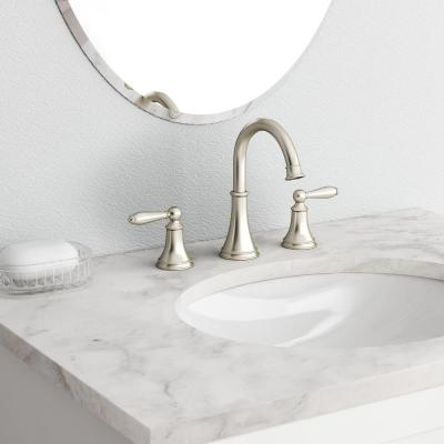 Courant 8 in. Widespread 2-Handle Bathroom Faucet in Brushed Nickel (2-Pack Combo)