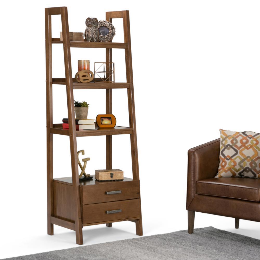 Design Ladder Bookcase simpli home sawhorse medium saddle brown ladder bookcase 3axcsaw bookcase