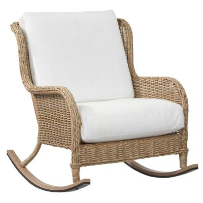 Lemon Grove Custom Wicker Outdoor Rocking Chair with Cushions Included, Choose Your Own Color