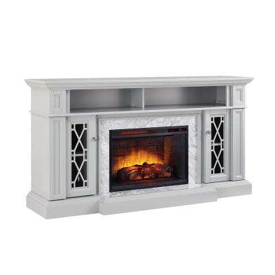 Parkbridge 68 in. Freestanding Infrared Electric Fireplace TV Stand in Gray with Carrara Marble Surround