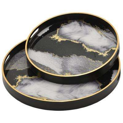 1.5 in. Black Glass Round Decorative Tray (Set of 2)