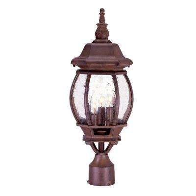 Chateau 3-Light Burled Walnut Outdoor Post-Mount Light Fixture