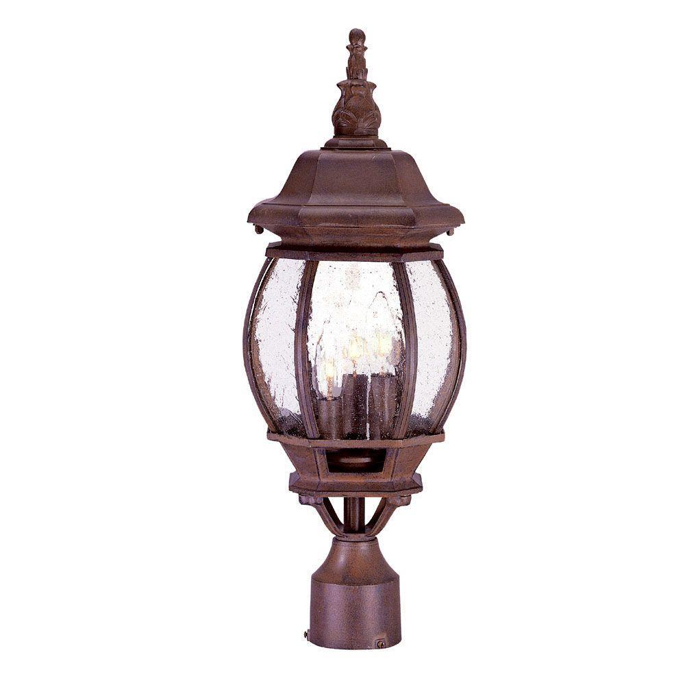 Chateau 3-Light Burled Walnut Outdoor Post-Mount Light Fixture