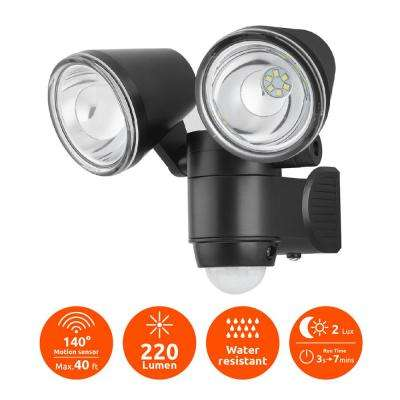 Super Bright Black 220-Lumen Motion Activated Outdoor Dual Head LED 6500K Battery Powered Landscape Flood Light