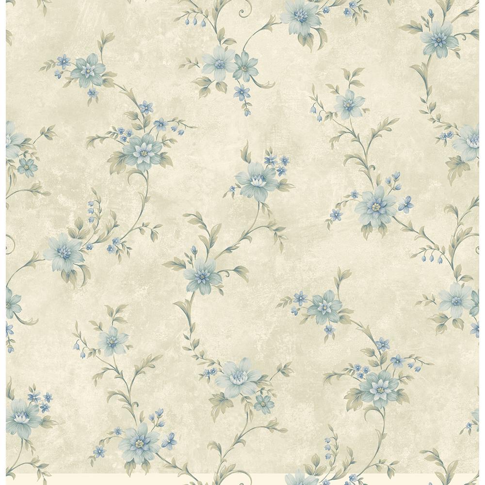 Elizabeth Aqua Floral Trail Wallpaper