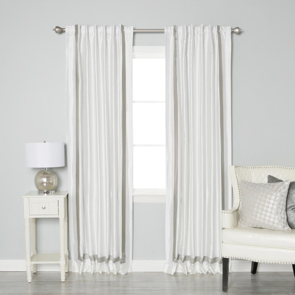 Best Home Fashion 84 In L Grey Border Faux Silk Blackout
