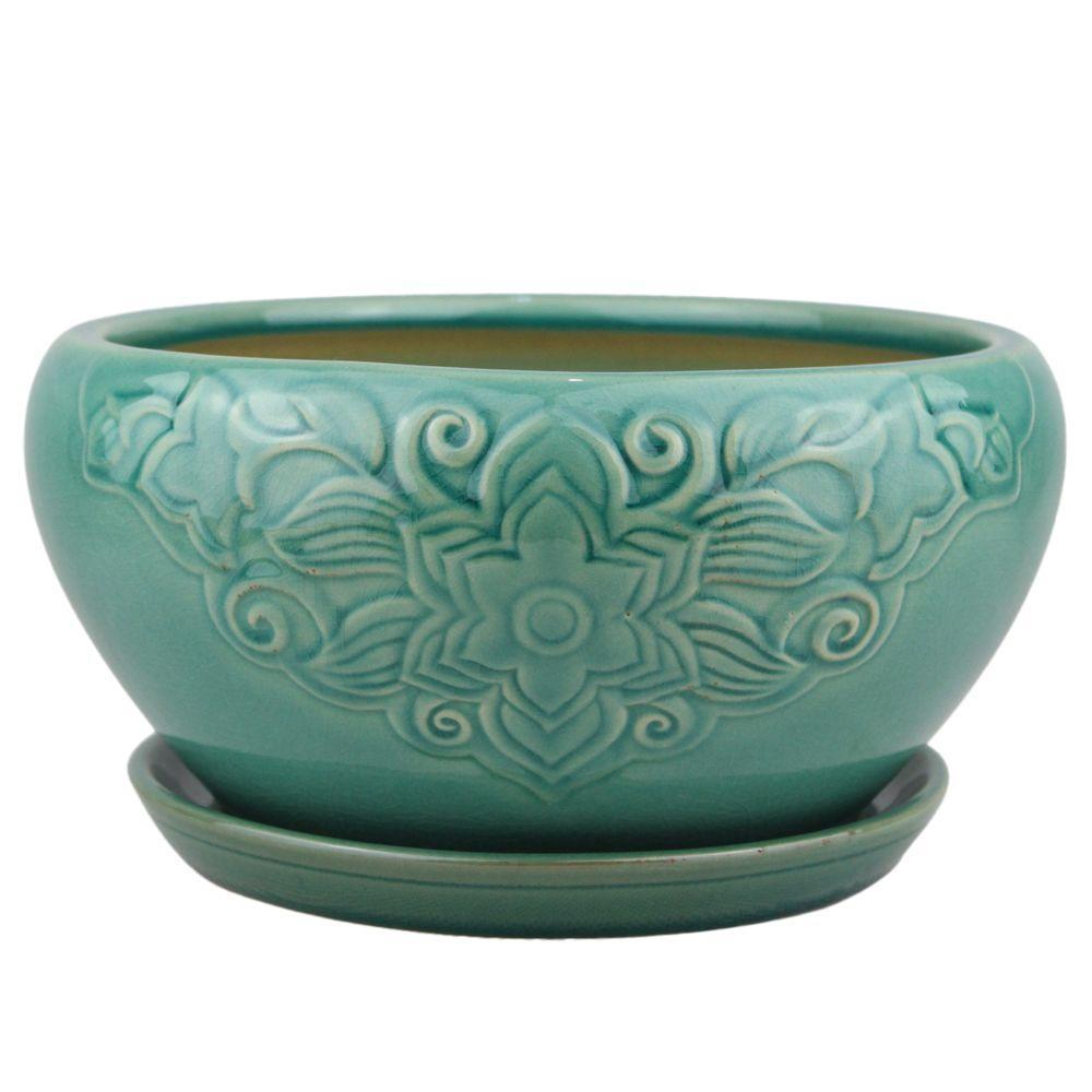 10 in. Teal Florelle Ceramic Bowl Planter
