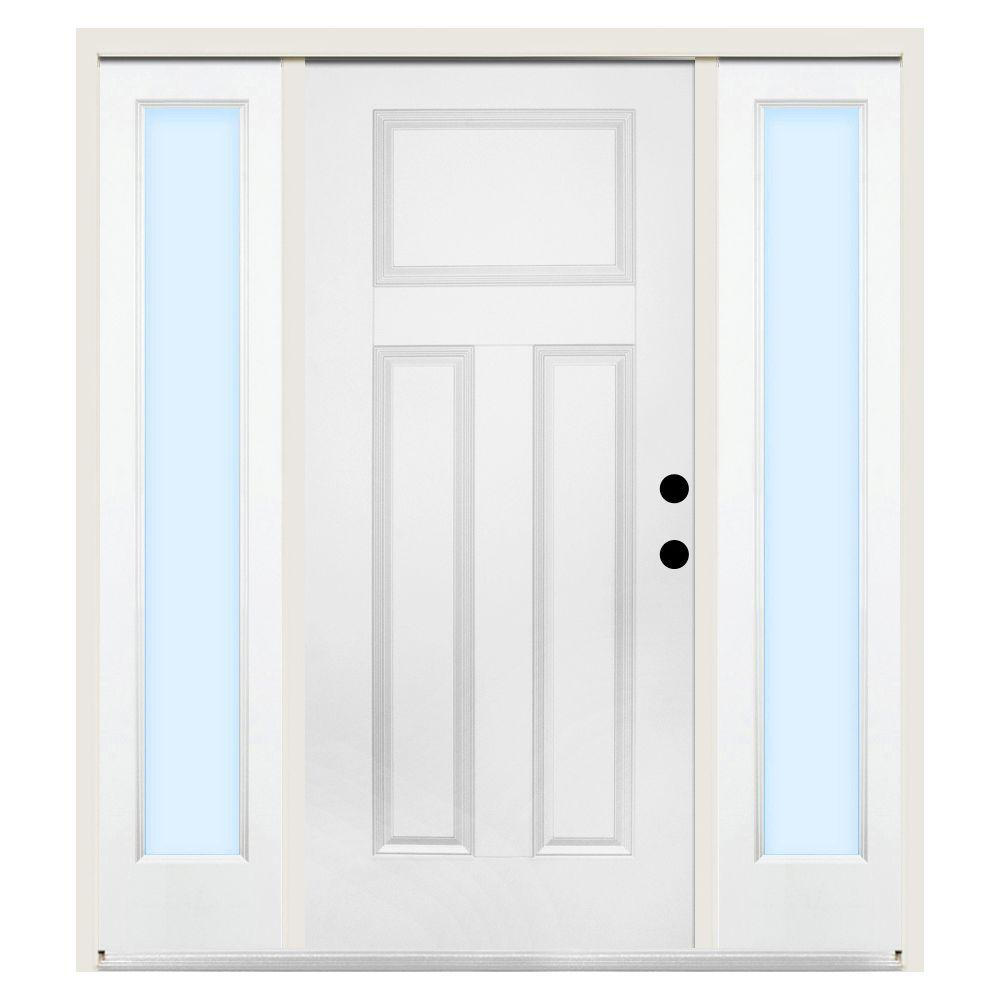 Steves & Sons 68 in. x 80 in. Premium 3-Panel Left-Hand Primed Steel Prehung Front Door w/ 14 in. Clear Glass Sidelite and 6 in. Wall