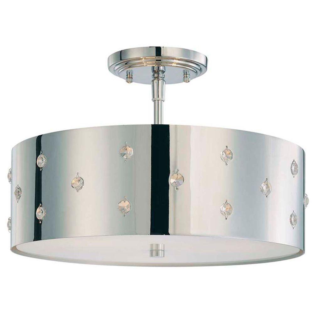 Bling Bling 3-Light Chrome Ceiling Semi-Flushmount Fixture
