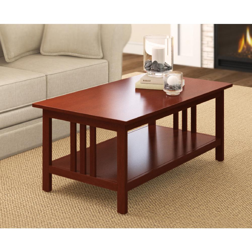 Ashley Cherry Wood Coffee Table: Alaterre Furniture Cherry Coffee Table-AMIA1160