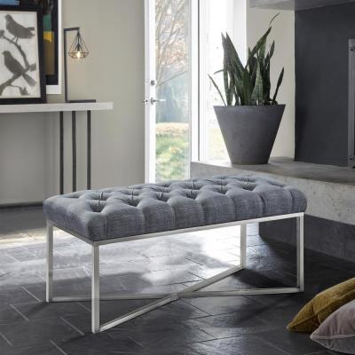 Noel Slate Grey Linen and Brushed Stainless Steel Contemporary Bench